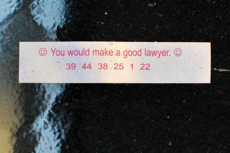 'Lawyer Fortune Cookie' found at https://flic.kr/p/8tJxJ4 by slgckgc (https://flickr.com/people/slgc) used under Creative Commons Attribution License (http://creativecommons.org/licenses/by/2.0/)