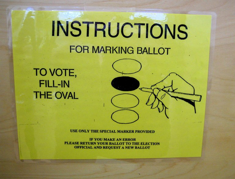 'voting instructions' found at https://flic.kr/p/rMpQF by Muffet (https://flickr.com/people/calliope) used under Creative Commons Attribution License (http://creativecommons.org/licenses/by/2.0/)