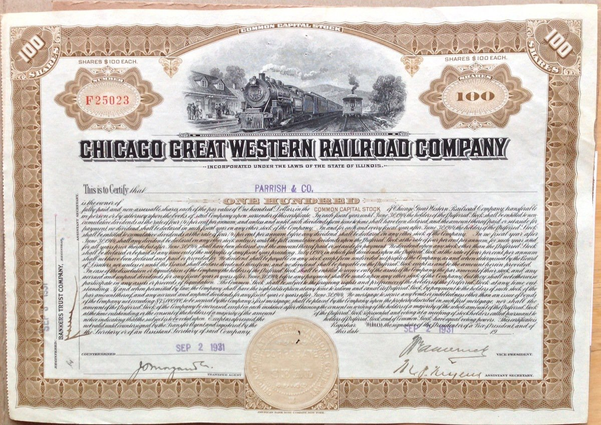 '100 shares of the Chicago Great Western Railway' found at https://flic.kr/p/e5jWfW by Mike Miley (https://flickr.com/people/mike_miley) used under Creative Commons Attribution-ShareAlike License (http://creativecommons.org/licenses/by-sa/2.0/)