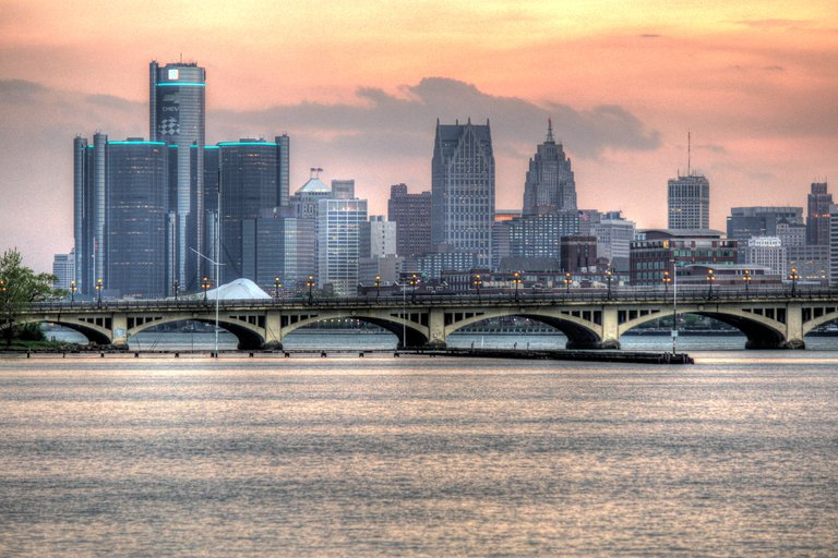 'Detroit Skyline (HDR)' found at https://flic.kr/p/nki1G5 by Bryan Debus (https://flickr.com/people/null) used under Creative Commons Attribution-NoDerivs License (http://creativecommons.org/licenses/by-nd/2.0/)